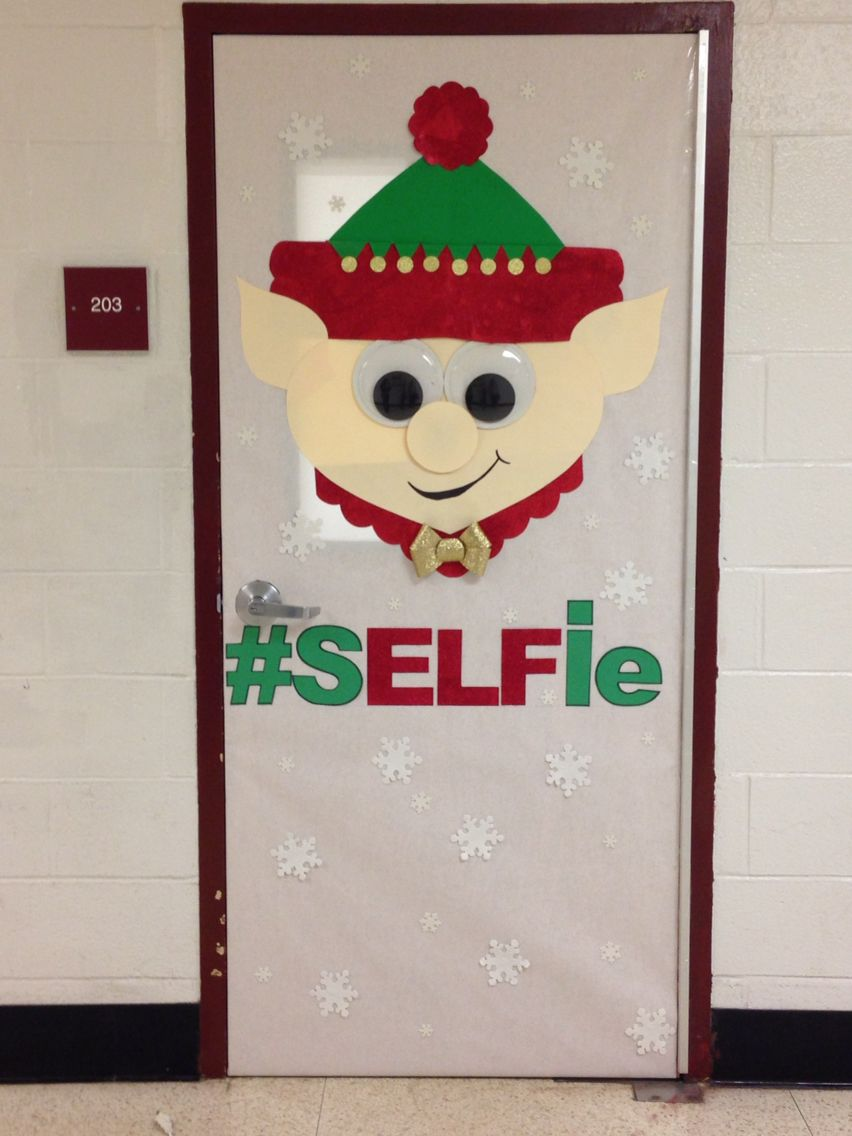 Elf christmas door decorating contest bulletin boards for Door decorations for christmas