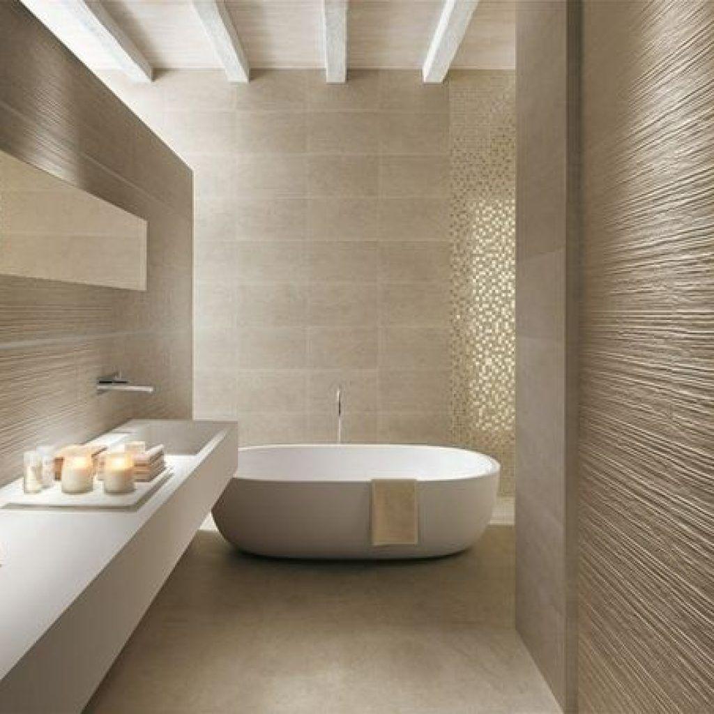 Baignoireilot Contemporain Minimaliste Carrelagetexture In 2020 Beige Bathroom Tile Bathroom Modern Bathroom