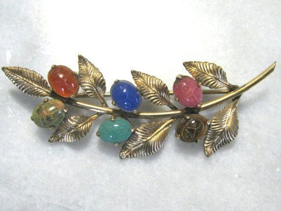 Vintage jewelry Retro 12k gold filled scarab brooch pin scarab