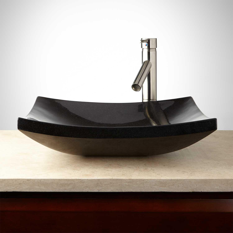 Absolute Black Curved Rectangular Granite Vessel Sink Vessel