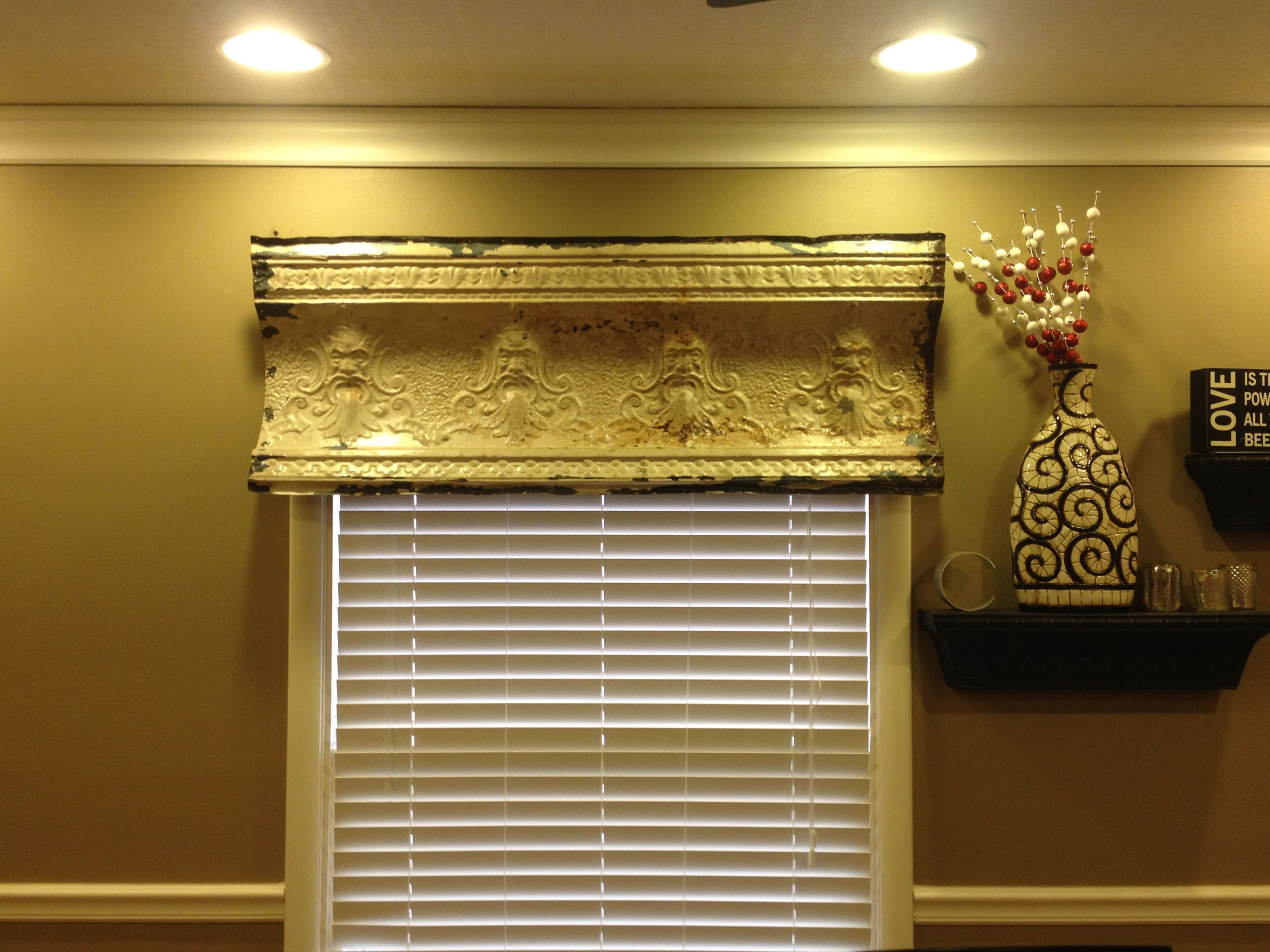 Use an old piece of tin as a window valance. | House Ideas ...
