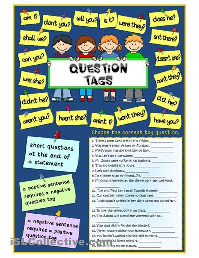 Tag questions worksheet Free ESL printable worksheets