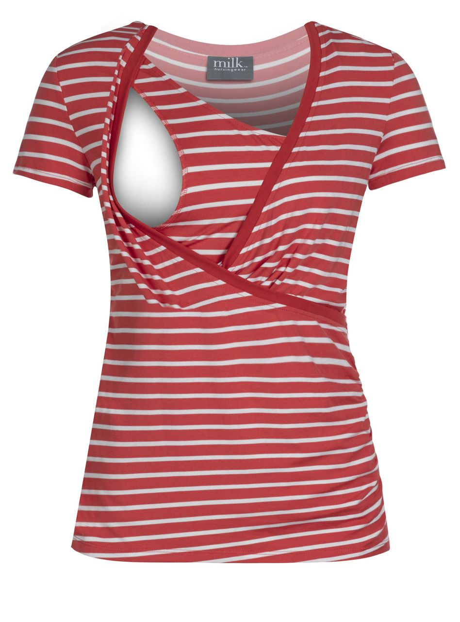 7c8f324a85d01 Crossover striped nursing top in coral | Baby | Nursing tops ...