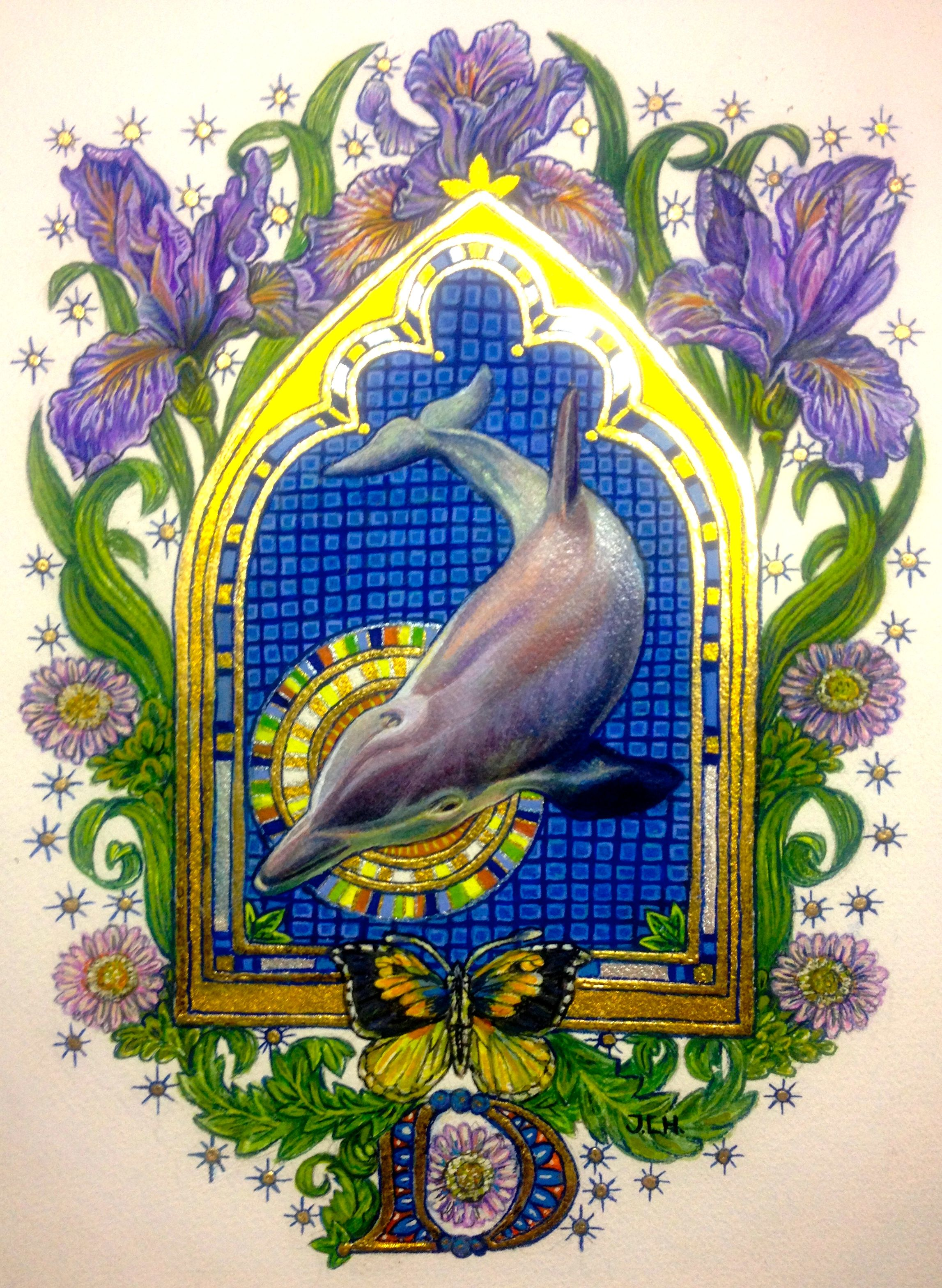 Title Of Original D Dolphin Dog Faced Butterfly And Douglas Iris Original Framed 950 9 X12 Egg Tempera Gold Leaf Rai Iris Art Iris Drawing