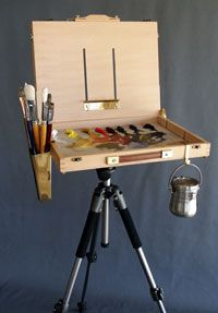"My plein air easel, made by Artwork Essentials.  I have the ""Versa"" and I'm very happy with it.  I did add a piece of glass to the bottom, glued the edges and painted the underside a neutral gray. www.GinaBrownArt.com"