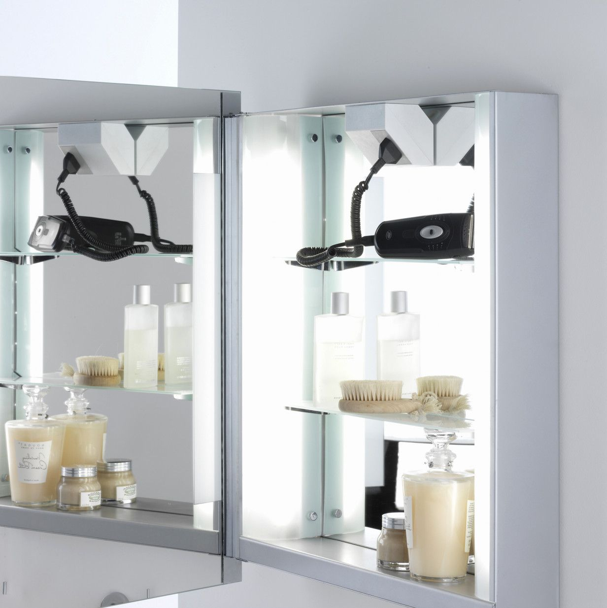 2018 Illuminated Bathroom Mirror Cabinet with Shaver socket ...