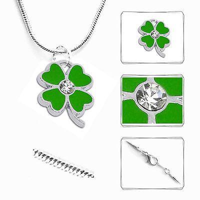 Halskette-KLEE-Kette-Strass-Schlangenkette-Schmuck-Mode-silber-Damen-Maedchen-Neu