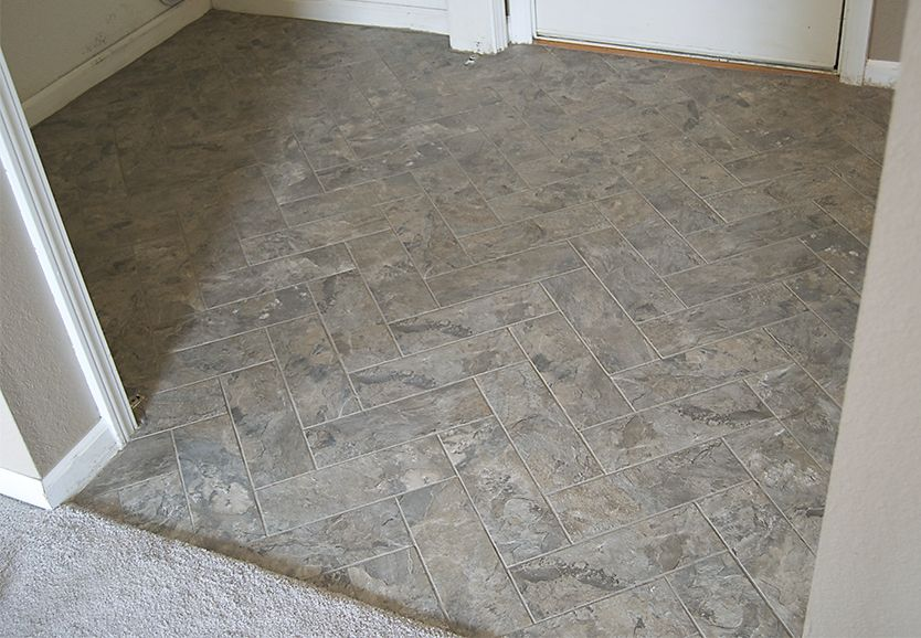 DIY Herringbone Peel-n-Stick Tile Floor By Grace