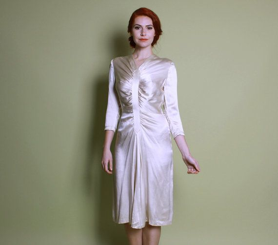 40s Ivory Silk Satin WEDDING DRESS / Glossy WWII By