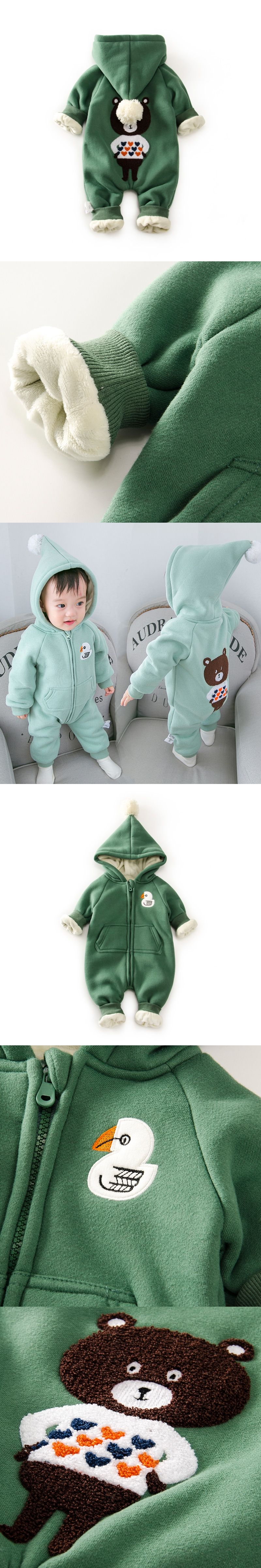 eac604dc0 10 Degree Winter Warm Fleece Baby Romper Hooded Newborn Clothes Bear ...