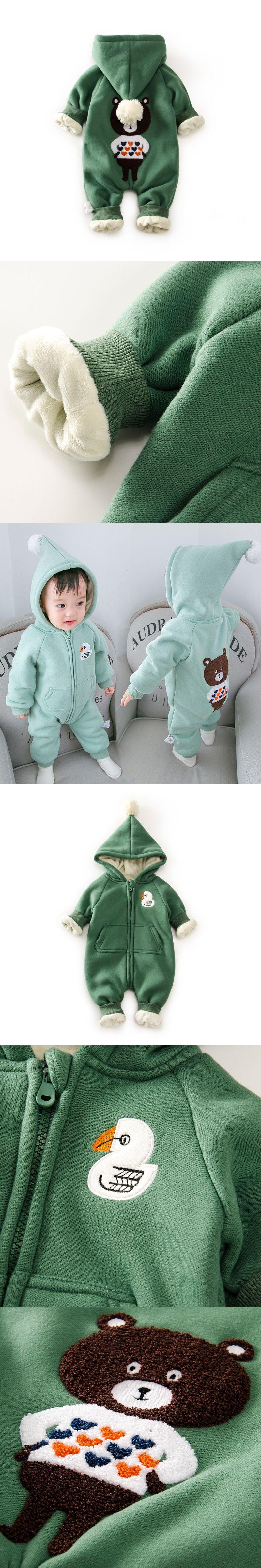 eac604dc0 10 Degree Winter Warm Fleece Baby Romper Hooded Newborn Clothes Bear ...