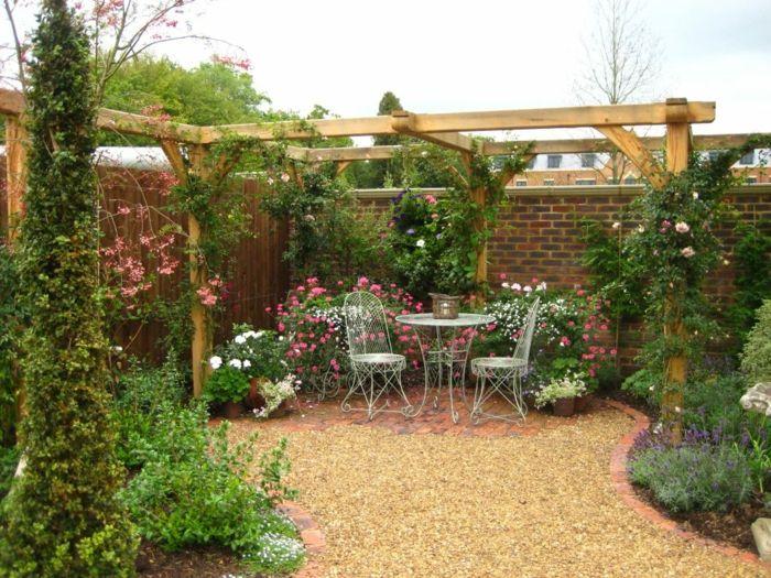 Gartenideen Romantisch Blumen Pergola Kies | Garten | Pinterest