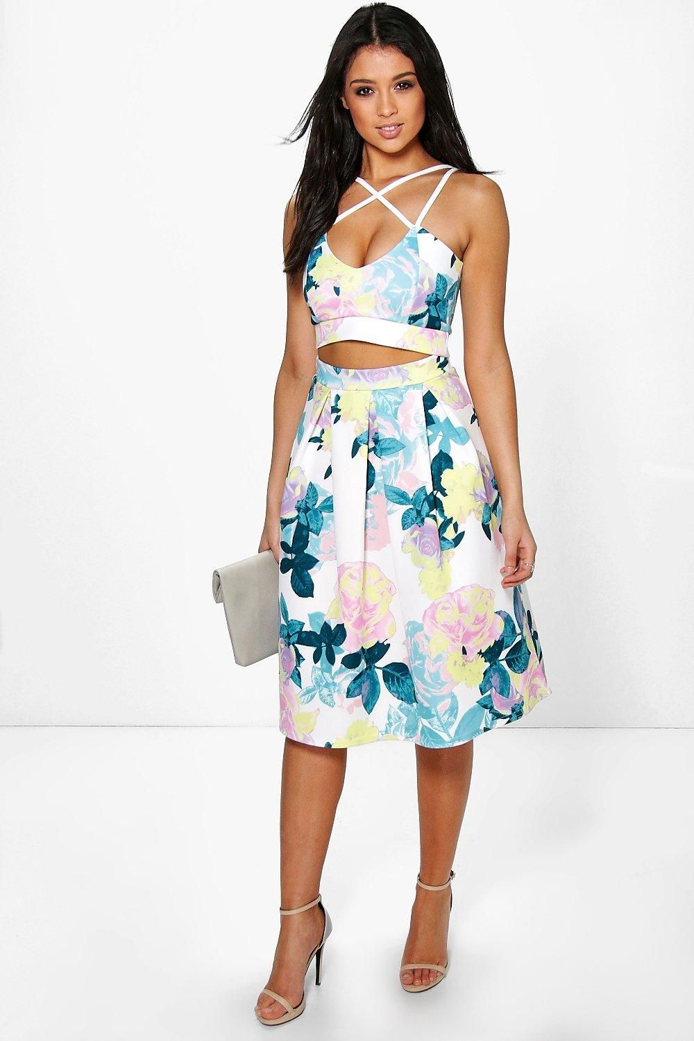 Tammy Strappy Crop & Full Midi Skirt Co-Ord Set | Full midi skirt ...