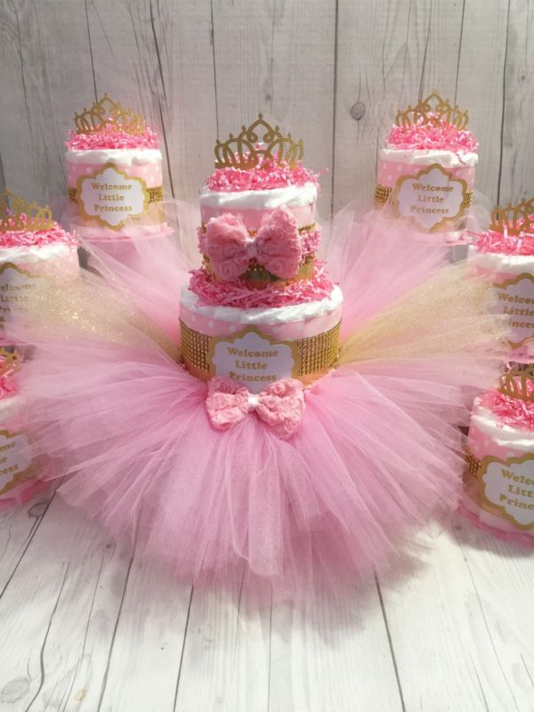 Pink gold princess tutu diaper cake centerpiece set
