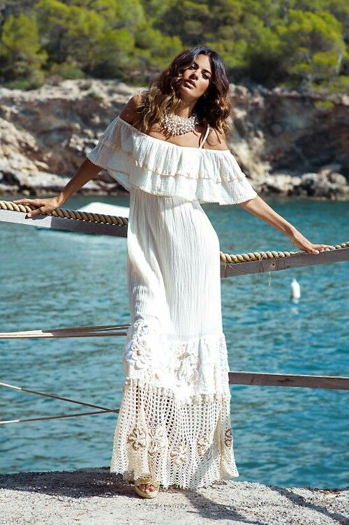 dress Hippy chic gypsy Can be worn in 4 different ways boho bardot top tunic Crochet design with cotton cheescloth body.