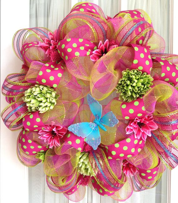 Deco Mesh Wreath Hot Pink Lime Turquoise by SouthernCharmWreaths