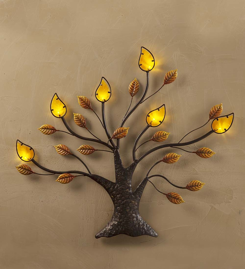 Lighted Metal And Glass Tree Wall Art This Metal Tree Has Amber