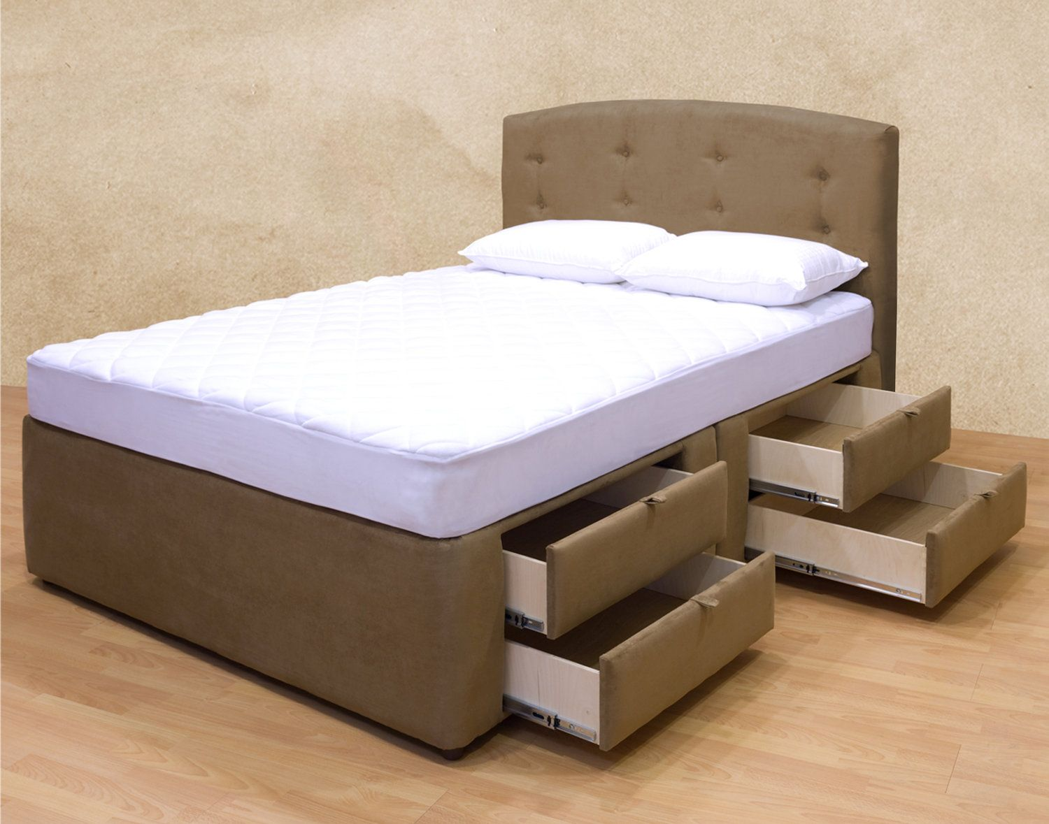 elegant upholstered platform storage bed with underneath drawers matching headboard queen bed frame king bed