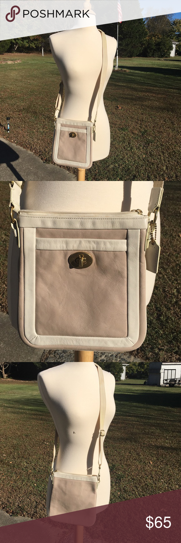 Vintage COACH Tan and White Crossbody Bag Rare! Vintage COACH Two-tone white and tan leather small cross body bag. So cute and hard to find! Great vintage condition. A few light spots on the strap I haven't tried to clean. What a treasure! Coach Bags Crossbody Bags