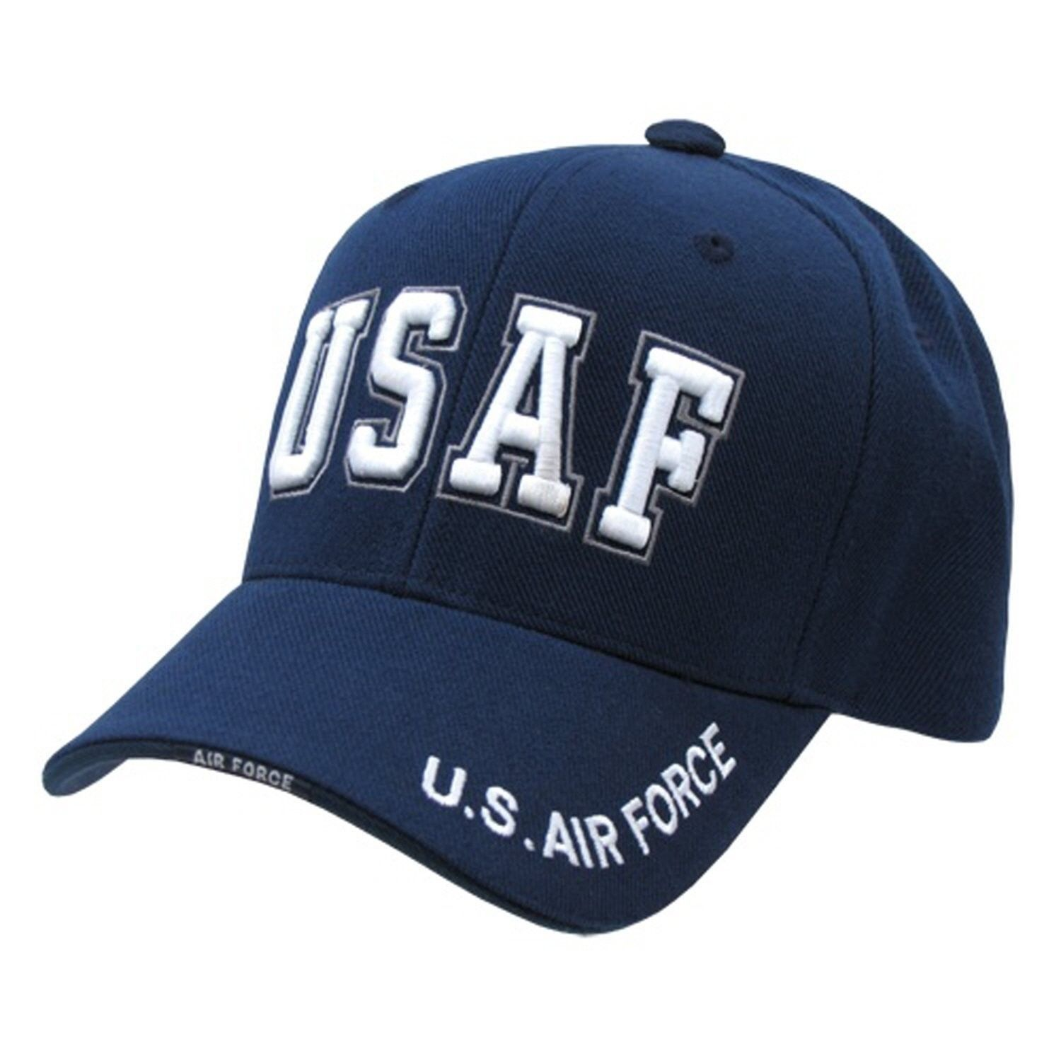 8ef77288a11 Navy Blue United States Usaf Air Force Text Military Baseball Cap Hat Caps  Hats
