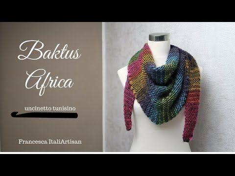Baktus Africa Sciarpa Triangolare Uncinetto Tunisino Double Face