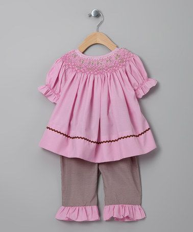 Take a look at this Pink Flower Top & Brown Gingham Pants - Infant & Toddler by MeeMee's Little Munchkins on #zulily today!