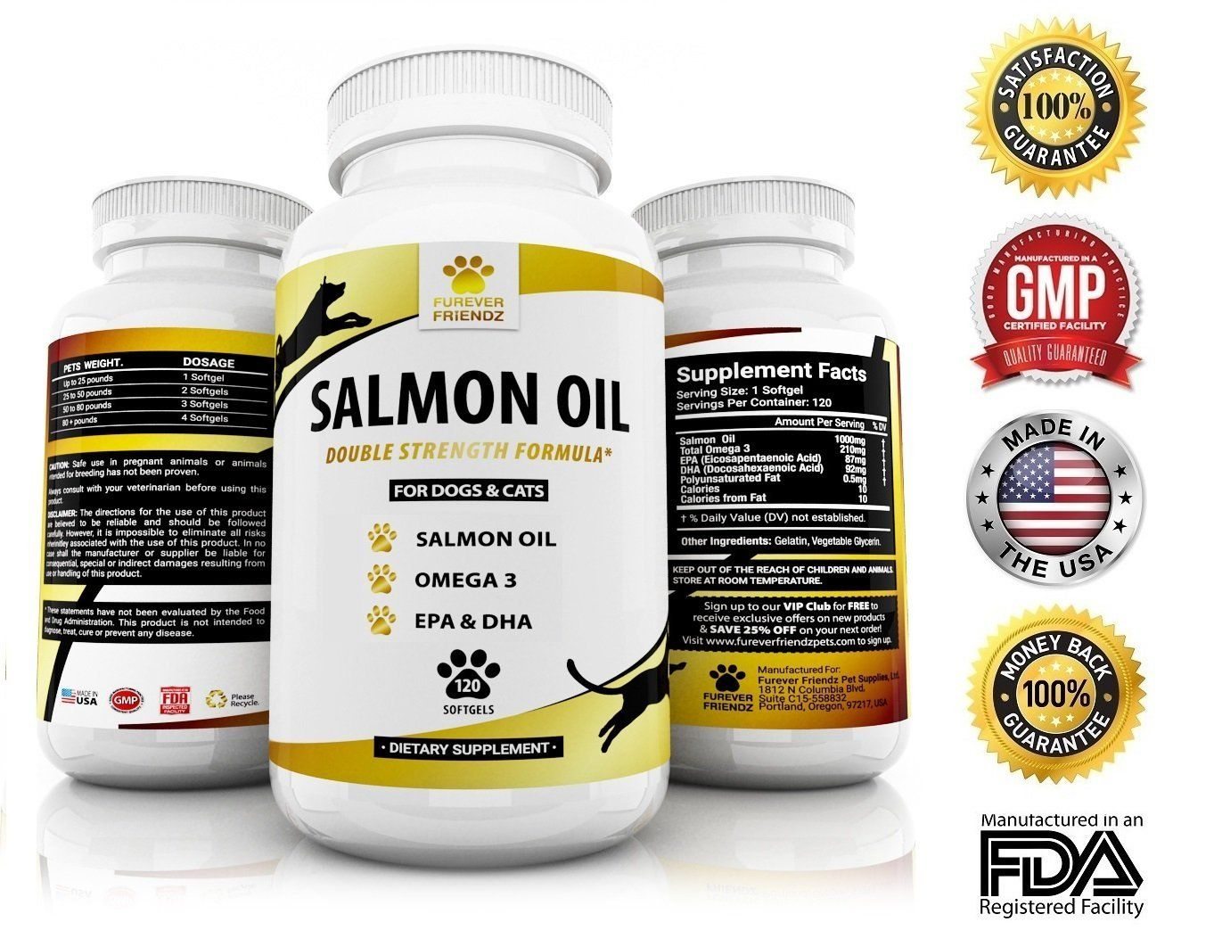 Natural Wild Alaskan Salmon Fish Oil Supplement For Dogs And Cats Omega 3 Plus Dha And Epa Fatty Aci Salmon Oil Supplement Wild Alaskan Salmon Salmon Oil