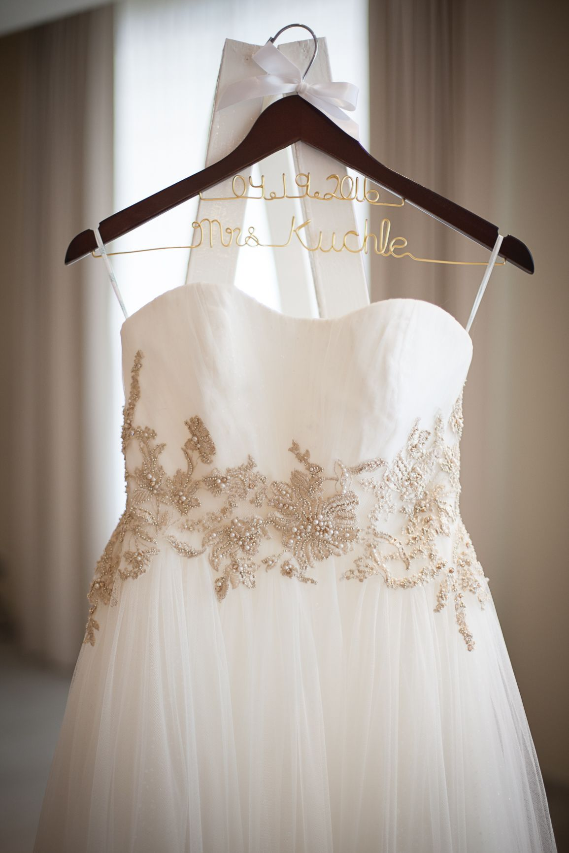 Ahhhh! These wedding gown hangers are so pretty! I would love this as an engagement gift.