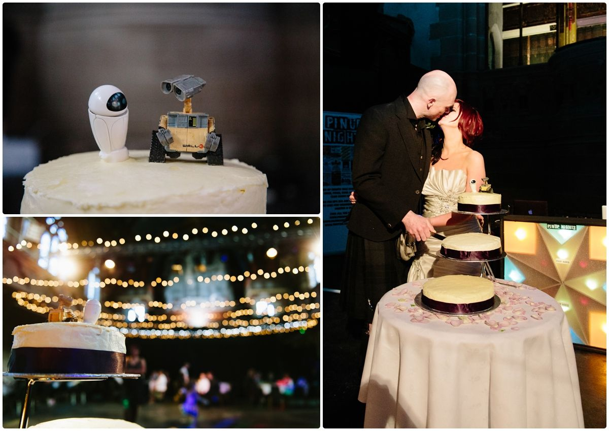 Katrina And Ronnie S Cottiers Theatre Wedding Movie Themed The Cake Toppers Were Wall