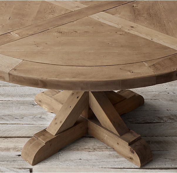 Salvaged Wood X Base Round Dining Table Round Dining Table