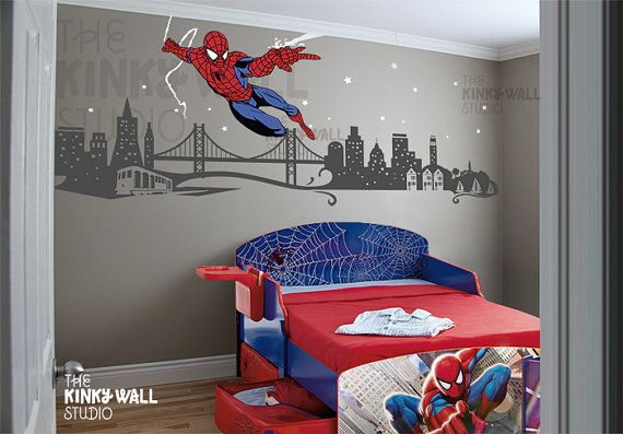 Children Wall Decals Wall Sticker Spiderman Super By KinkyWall - Superhero wall decals for kids roomssuperhero wall decal etsy