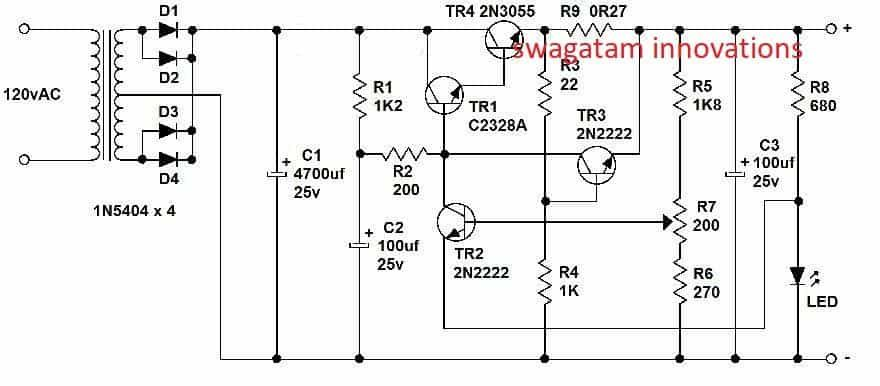 Variable Voltage, Current Power Supply Circuit Using