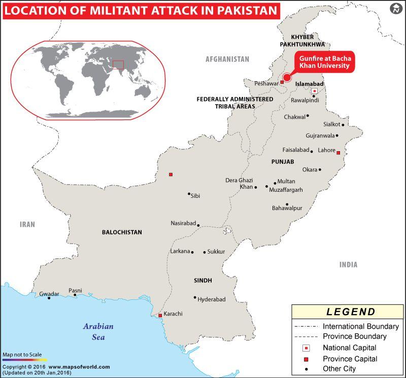 map showing location of terror attack at bacha khan university charsadda khyber pakhtunkhwa pakistan jan 2016