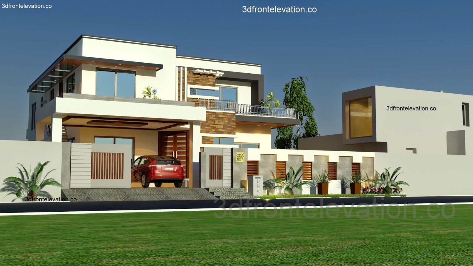 3d front 1 kanal house plan layout 50 39 x 90 for Modern duplex elevation