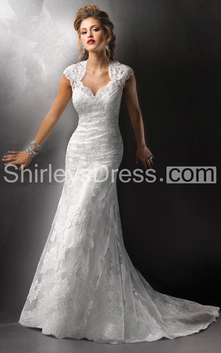 Gracious cap sleeved column lace dress with queen anne for Queen anne neckline wedding dress