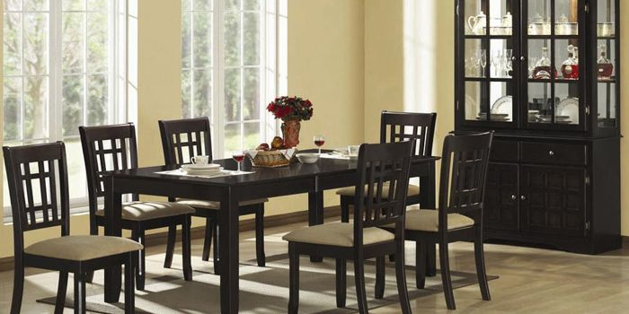 Elegant Italian Interior Design For Dining Room With Warm Nuance :  Exclusive Black Wooden Dining Furniture Design With Grey Tone Seat Chair  And Simple ...