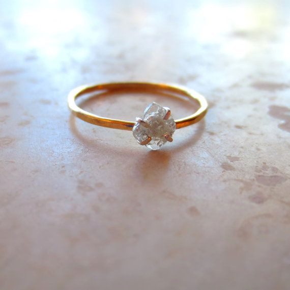 Rose Cut Diamond Slice Ring Simple Diamond by AlisonTitusJewelry