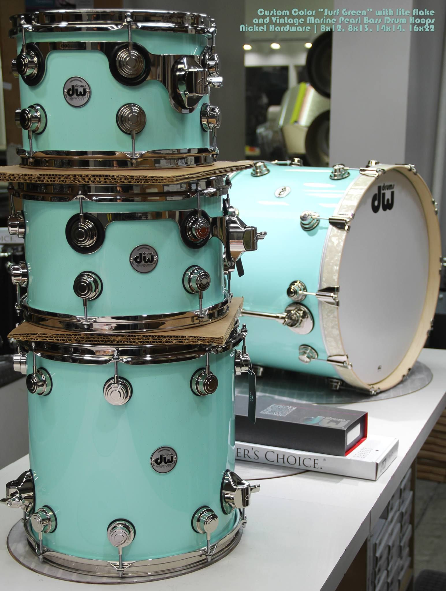 "Drum Workshop Set In Custom Color ""surf Green"" With Lite Flake And Vintage  Marine"