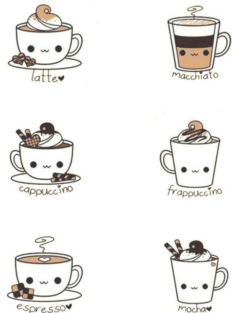 Kawaii Coffee Doodles Adorable Cute Doodles Cute Food Drawings Cute Kawaii Drawings