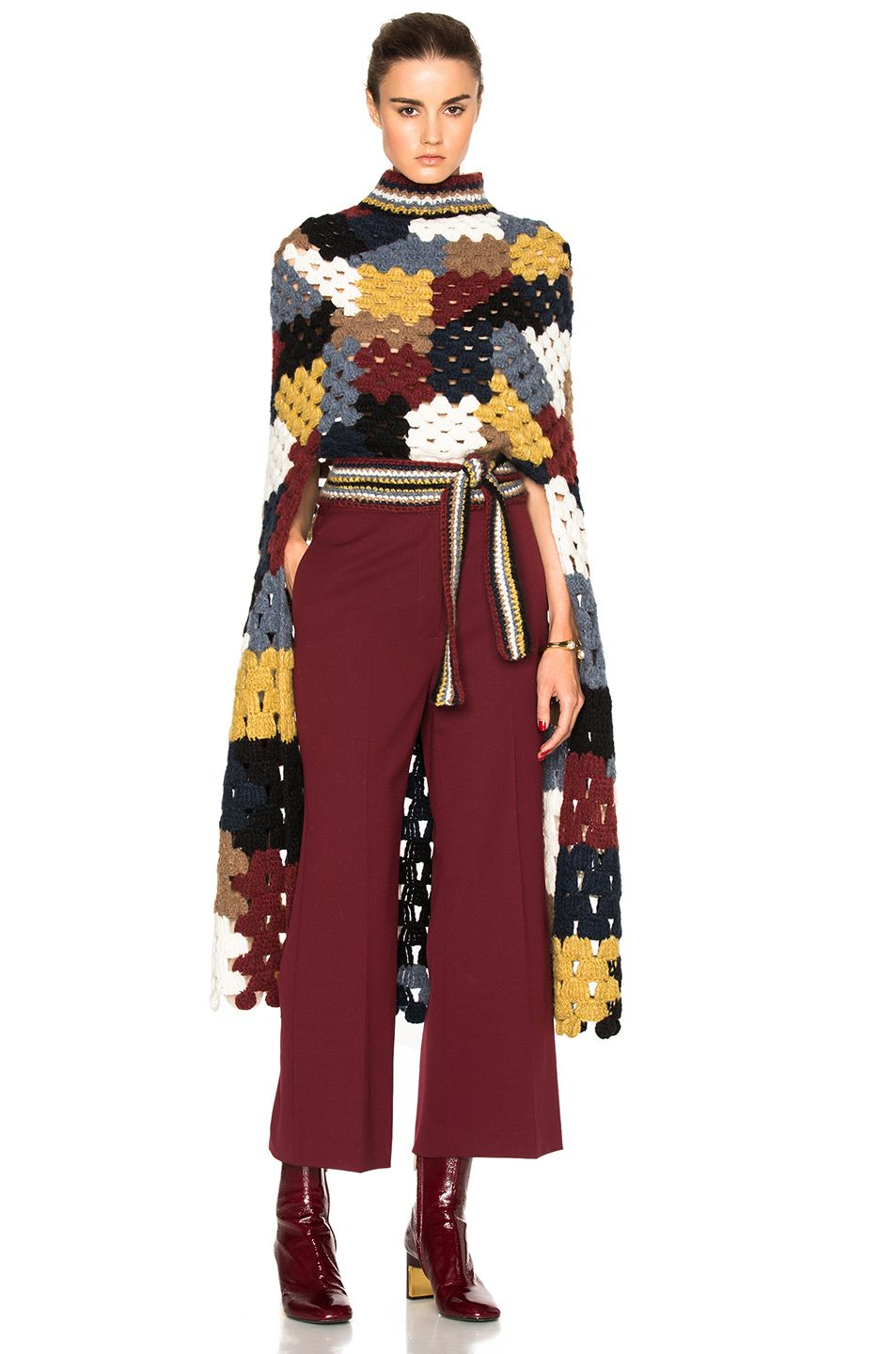 ROSETTA GETTY Patchwork Crochet Poncho. #rosettagetty #cloth # #ponchos