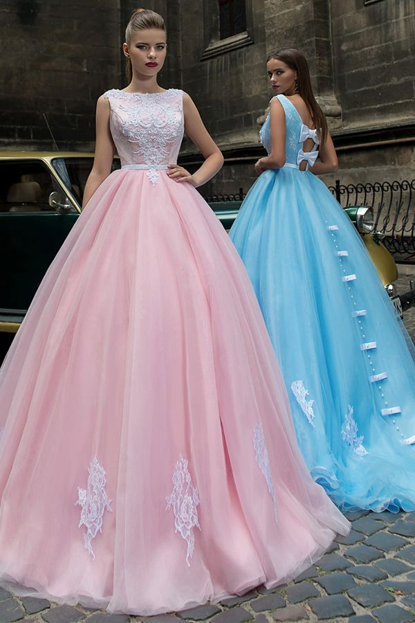 Beautiful Tulle Bateau Neckline A-line Prom Dresses With ...