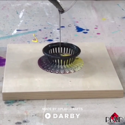 DIY Acrylic Strainer Pouring Create super fun artwork using FolkArt Marbling Paint with an strainer to get some amazing results  Pour in all at once or stagger your pours! darbysmart diy diyprojec is part of Crafts -