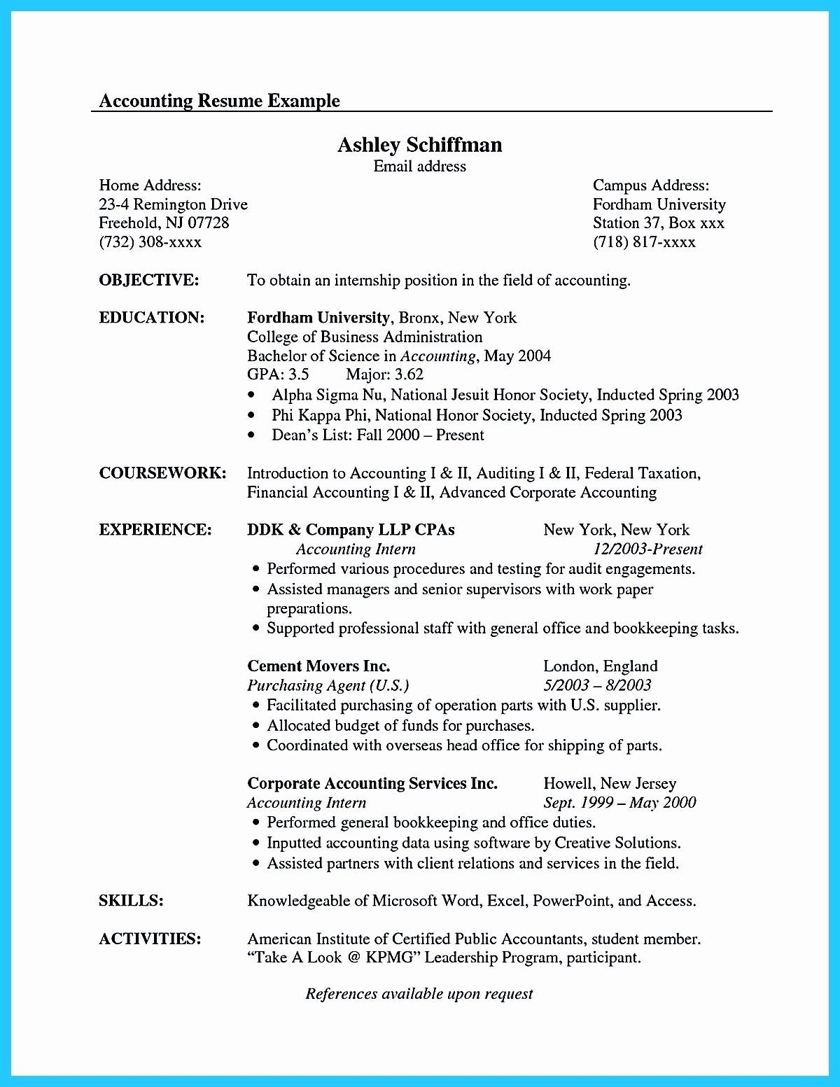 Accounting Internship Resume Sample Awesome 30 Accounting