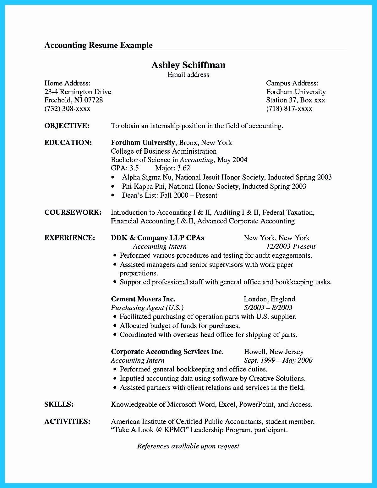 Accounting Internship Resume Sample Awesome 30 Accounting