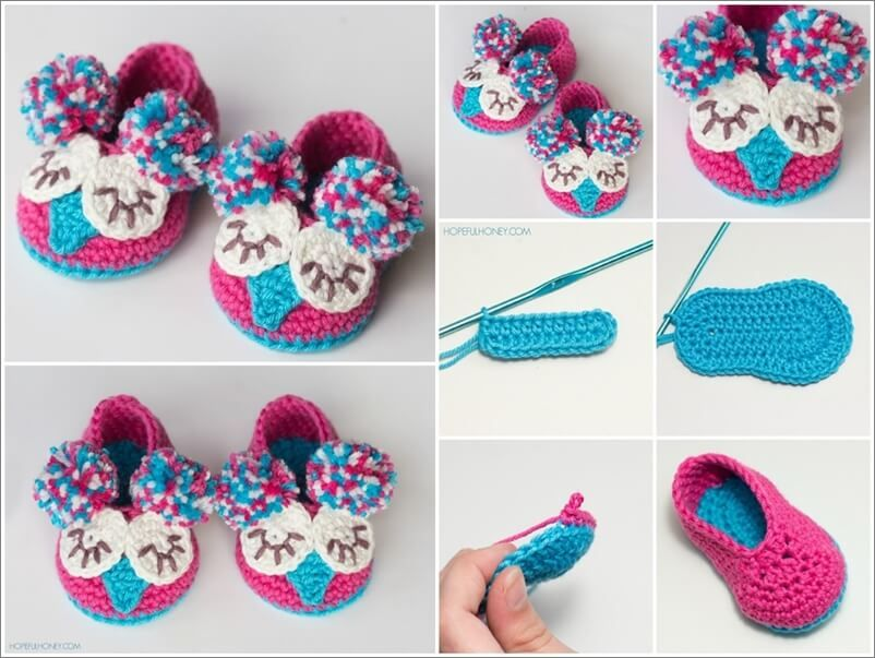 Crochet Cute Baby Owl Booties with Free Pattern | crocheted shoes ...