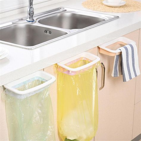 1Pcs Kitchen Gadgets Cabinet Door Garbage Bag Shelf Kitchen Tools Rack Hanging Storage Trash Rack Kitchen Accessories Goods,Q