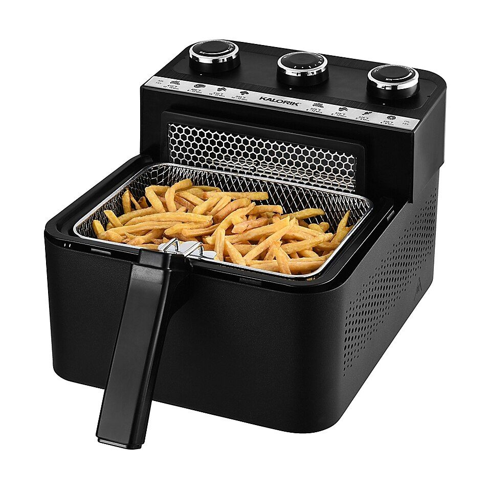 Kalorik 1.8 Qt. 2-In-1 Air And Deep Fryer In Black - The Kalorik 2-in-1 Air and Deep Fryer combines two technologies into a single compact appliance. The air frying mechanism uses Rapid Hot Air Technology and a patented horizontal airflow system to make delicious, healthy meals in minutes.