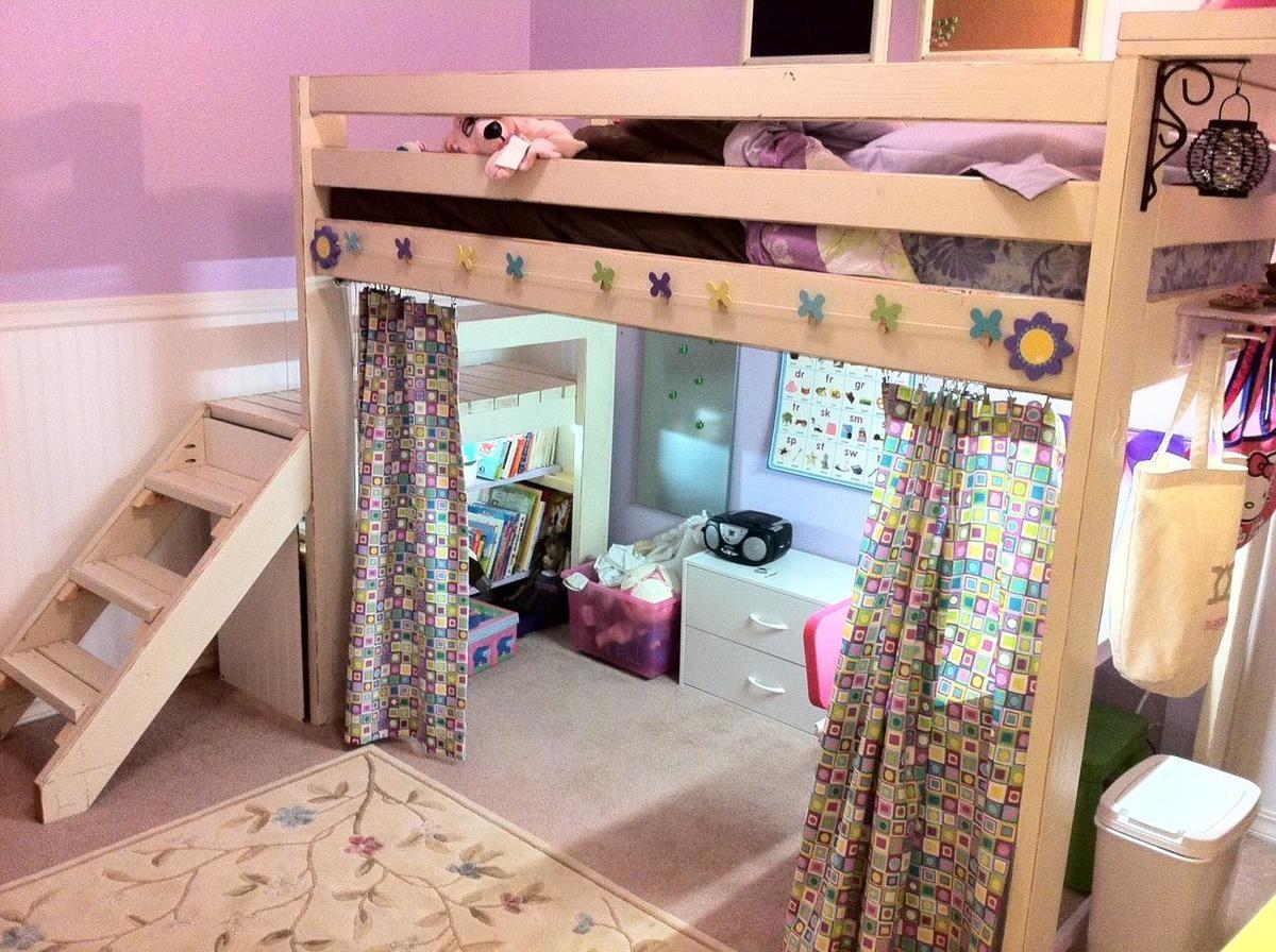 Art Studio Loft Bed Ana White Baby room curtains, Loft