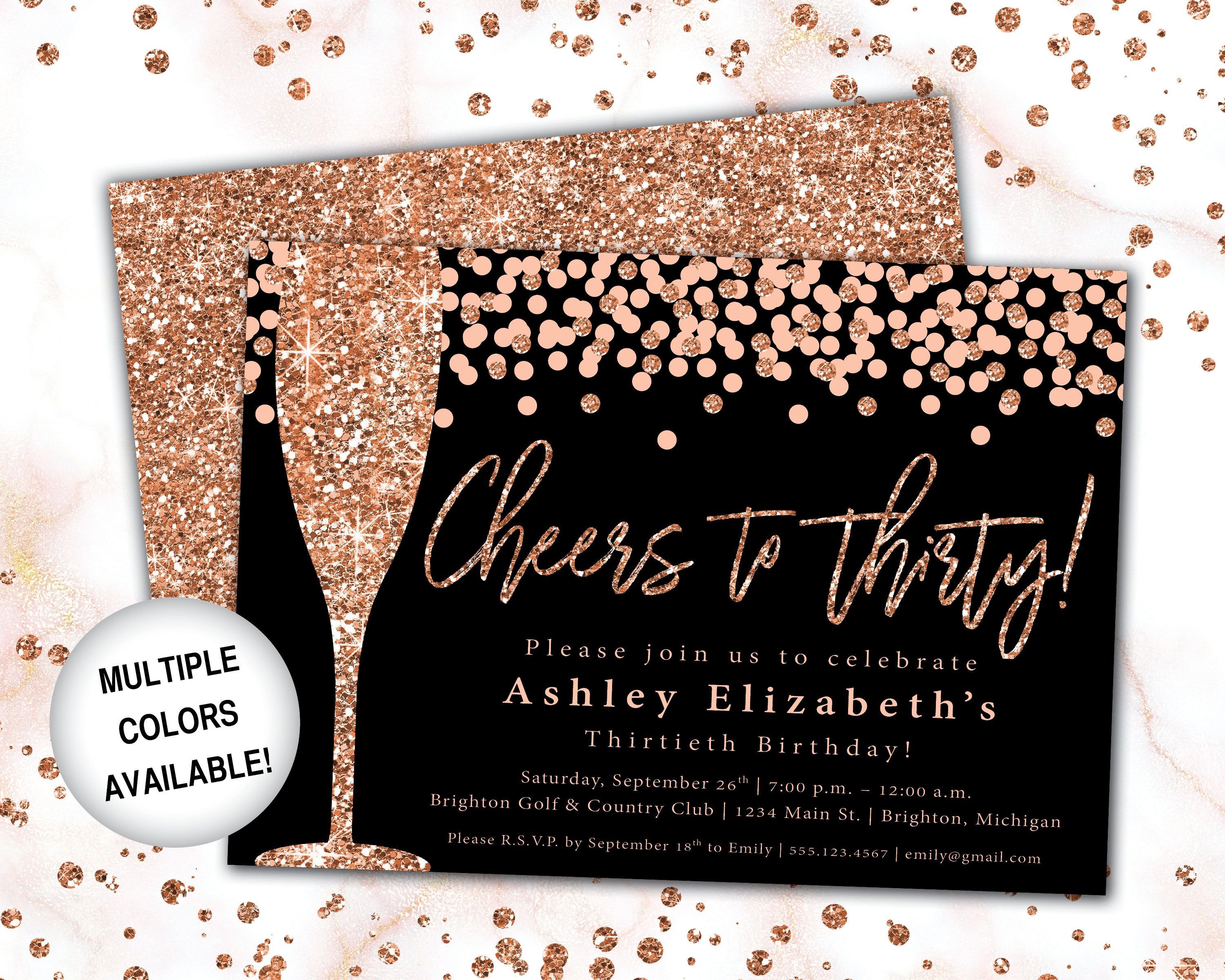Cheers To 30 Invitation Rose Gold Champagne 30th Birthday Etsy In 2021 Rose Gold Invitations 30th Birthday Invitations 21st Birthday Invitations