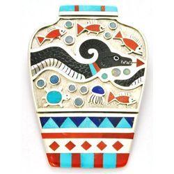 Zuni Multi-Stone Sea Serpent Sterling Silver Pottery Pendant & Pin - Rudell & Nancy Laconsello /840-1,890